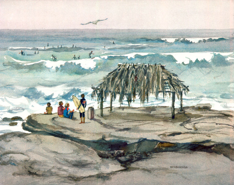 """Windansea Surfing"" © Eileen Monaghan Whitaker 15x20 inches Watercolor"