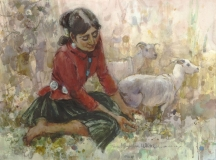 """""""Navajo Girl"""" 1988 © Eileen Monaghan Whitaker 22x30 inches Watercolor"""