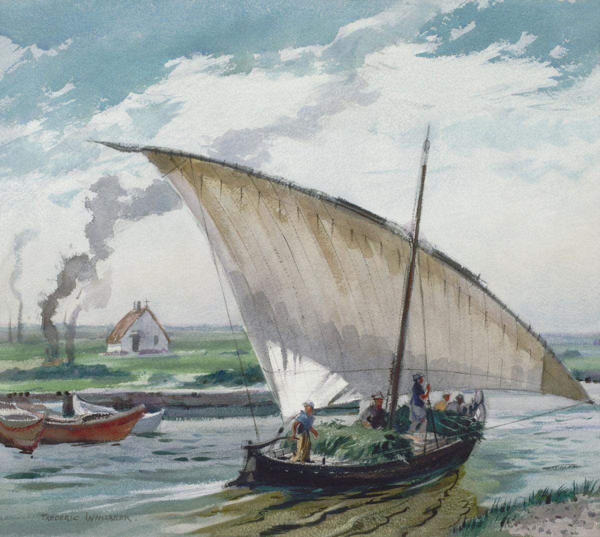 """""""Albufera Boat"""" 1956 © Frederic Whitaker 22x24.5 inches"""