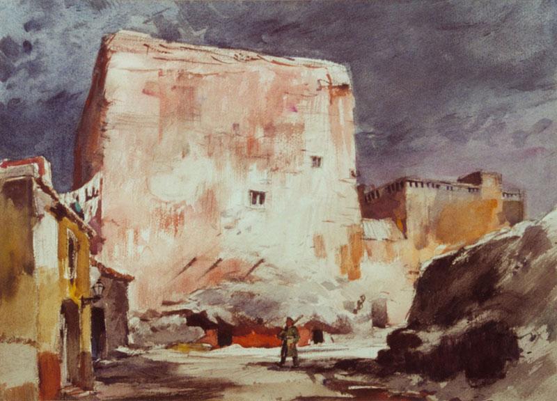 """Military Prison"" 1952 © Frederic Whitaker 22x30 inches Watercolor"