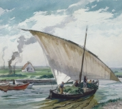 """""""Albufera Boat"""" 1956 © Frederic Whitaker N.A.  22x24.5 inches Watercolor"""