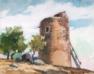 """Atalaya"" © Frederic Whitaker N.A.  22x27 (date unknown) Watercolor"