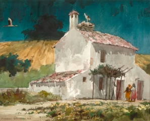 """Home in Andalusia"" 1969 © Frederic Whitaker N.A.  22x27.5 inches Watercolor"