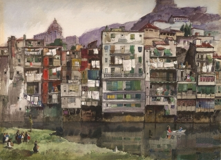 """Houses on a Hillside"" 1958 © Frederic Whitaker N.A. 21x29 inches Watercolor"