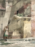 """""""Memorial Fountain"""" 1968 © Frederic Whitaker N.A.  22x30 inches Watercolor"""