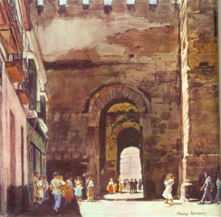 """Moorish Gate, Carmona © Frederic Whitaker N.A.  22x23 inches Watercolor"