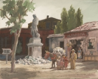 """""""Pottery Vendor"""" 1968 © Frederic Whitaker N.A. 22x30 inches Watercolor"""