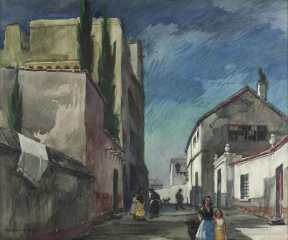 """Street in Granada"" © Frederic Whitaker N.A.  22x30 inches Watercolor"