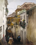 """""""Street in the Alfama"""" (date unknown) © Frederic Whitaker N.A.  27.5x22 inches Watercolor"""