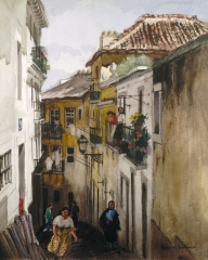 """Street in the Alfama"" (date unknown) © Frederic Whitaker N.A.  27.5x22 inches Watercolor"