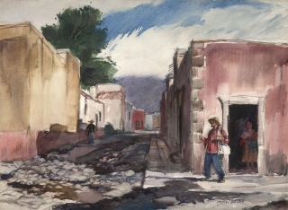 """The Street of San Idelfonso"" 1953 © Frederic Whitaker N.A.  22x30 inches Watercolor"