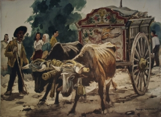 """Spanish Ox Cart"" 1967 © Frederic Whitaker N.A. 21.75x29 inches Watercolor"