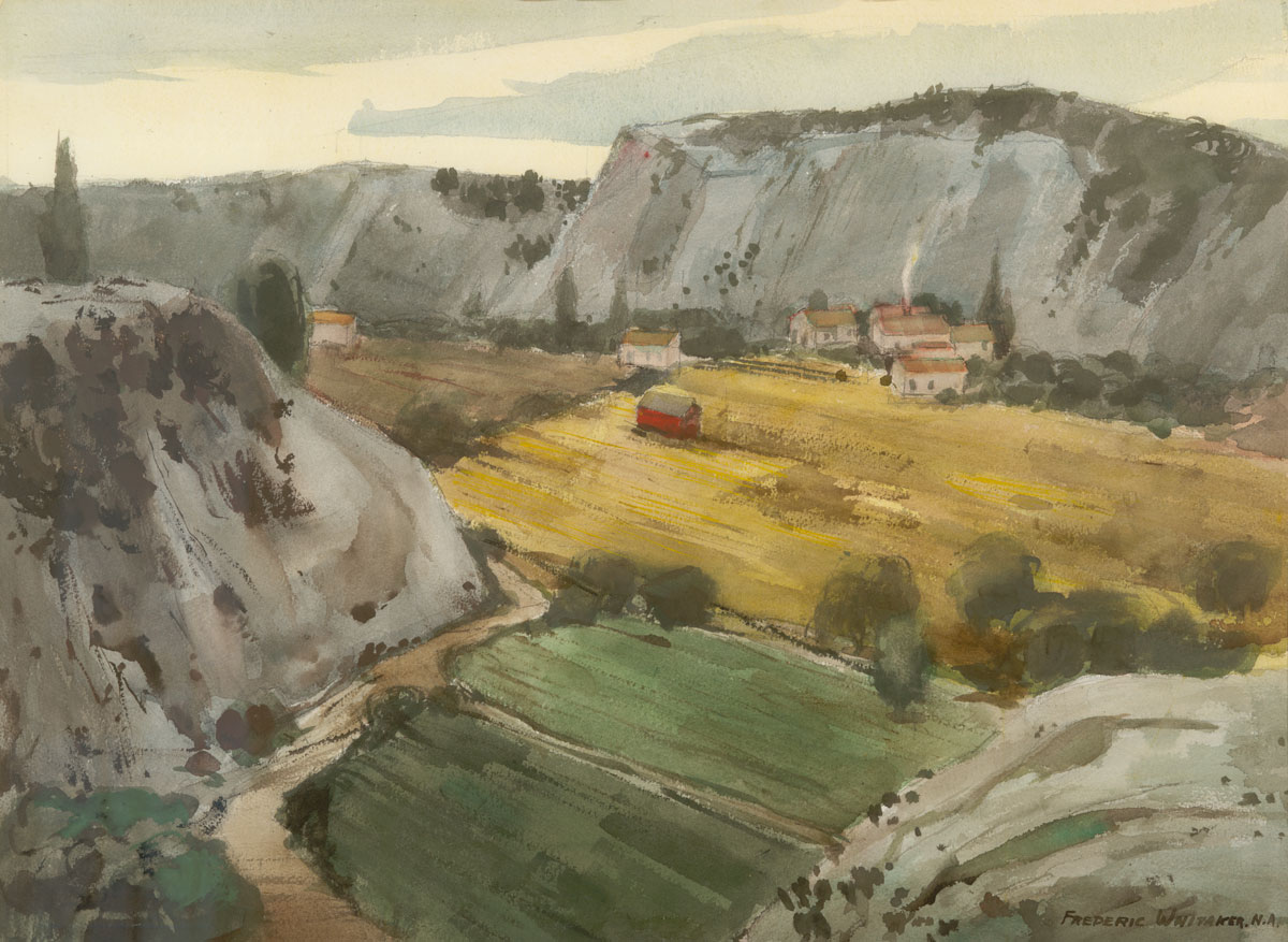 """Fertile Valley"" 1970 © Frederic Whitaker N.A. 22x30 inches Watercolor"