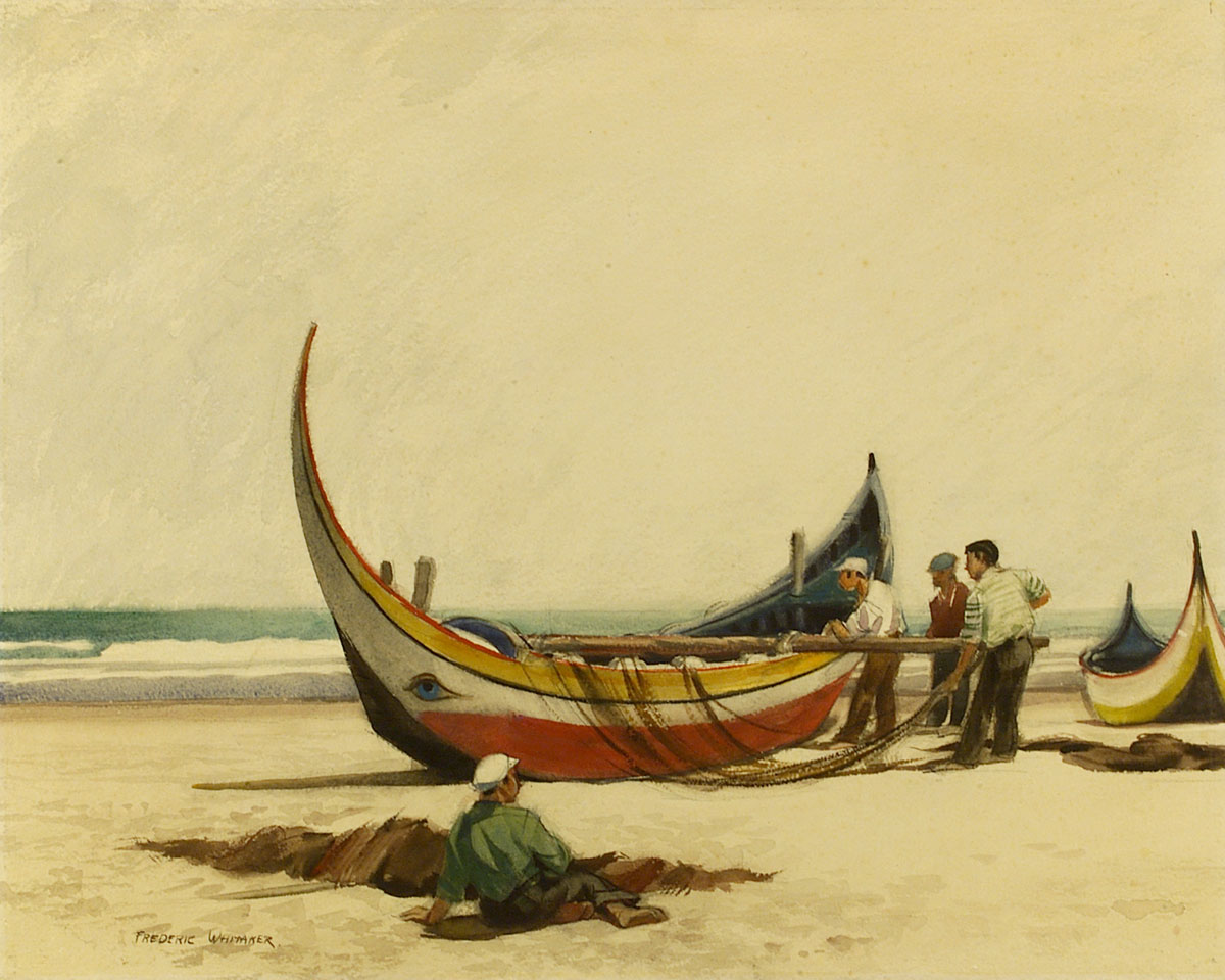 """""""Fishing Boats, Caparica"""" © Frederic Whitaker 22x28 inches Watercolor"""