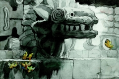 """""""Quetzalcoatl"""" 1970 © Frederic Whitaker 28.5x23.2 inches"""