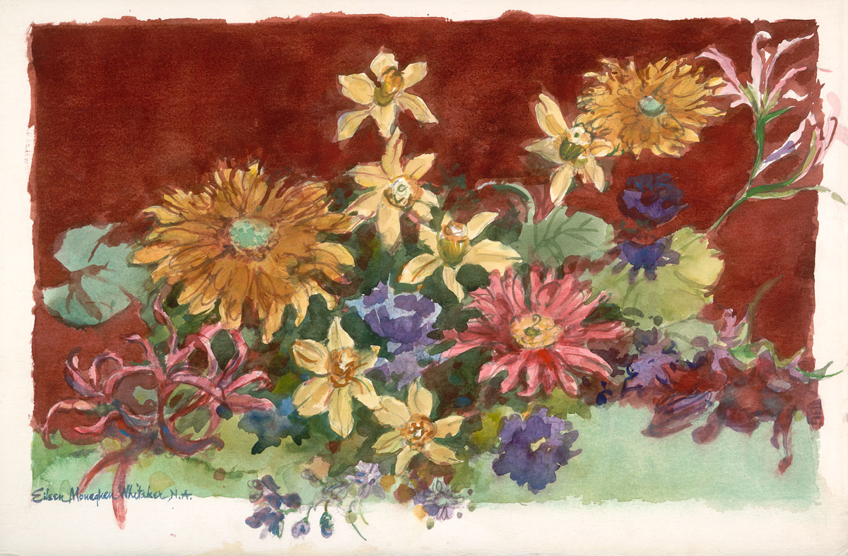 """Easter Flowers"" 1992 © Eileen Monaghan Whitaker 14x22 inches Watercolor"