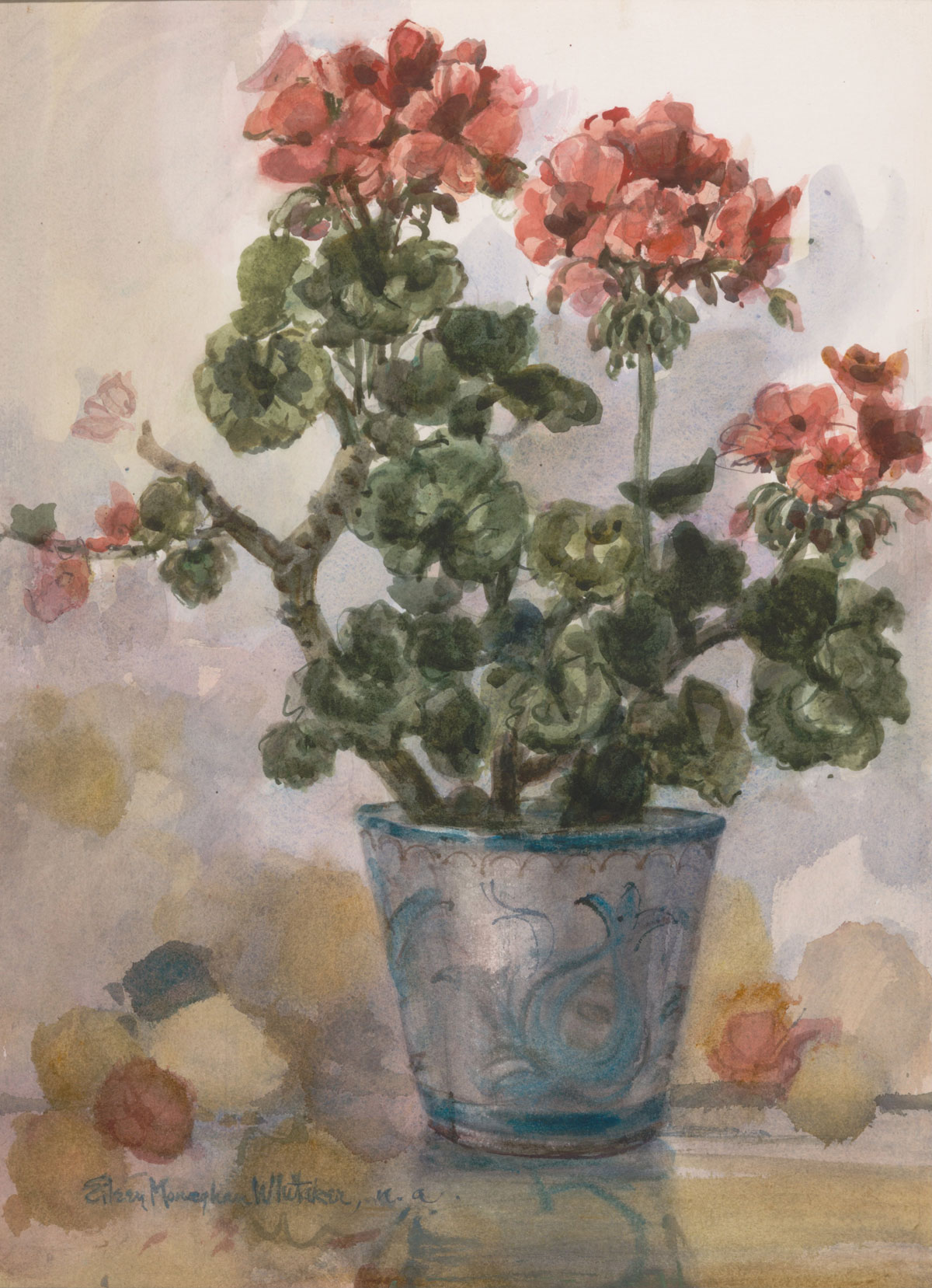 """""""Geraniums"""" 1978 © Eileen Monaghan Whitaker N.A.  22x16 Watercolor"""