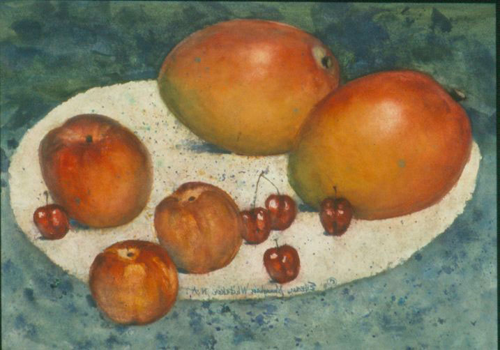 """Sweet Fruits of Summer"" 1995 © Eileen Monaghan Whitaker N.A.  16x22.75 inches Watercolor"