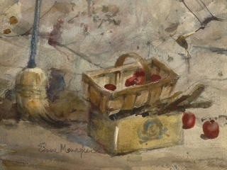 """Apples in The Cellar"" 1960s © Eileen Monaghan Whitaker 12x16 inches Watercolor"