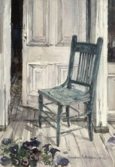 """Blue Chair "" 1967 © Eileen Monaghan Whitaker 22x27.5 inches Watercolor"