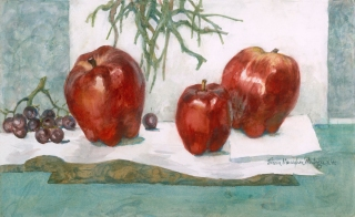 """Delicious"" 1995 © Eileen Monaghan Whitaker N.A.  14x22 inches Watercolor"