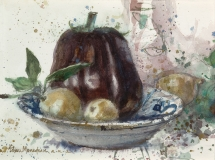 """Eggplant and Fruit in a Bowl"" © Eileen Monaghan Whitaker N.A. Watercolor"