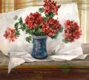 """Geraniums in a Blue Vase"" 1981 © Eileen Monaghan Whitaker N.A. 22x24.5 inches Watercolor"