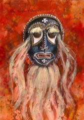 """Las-Pascolas-Mask"" 1982 © Eileen Monaghan Whitaker N.A. 20x14 inches Watercolor"
