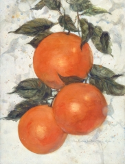 """Love for Three Oranges"" 1995 © Eileen Monaghan Whitaker N.A. 30x22.5 inches Watercolor"