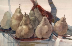 """Pear Design"" 1977 © Eileen Monaghan Whitaker 14x22 Watercolor"
