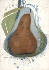 """The Pear Theme"" 1983 © Eileen Monaghan Whitaker N.A.  22x16 inches Watercolor"