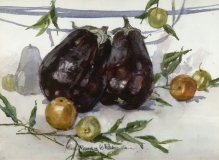 """Eggplant Study"" 1977 © Eileen Monaghan Whitaker 16x22 inches Watercolor"