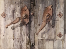 """Franciscan Hardware"" 1968 Eileen Monaghan 30x22 Watercolor"