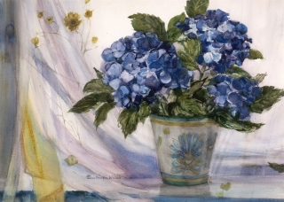 """Hydrangeas"" date unknown © Eileen Monaghan Whitaker size unknown Watercolor"