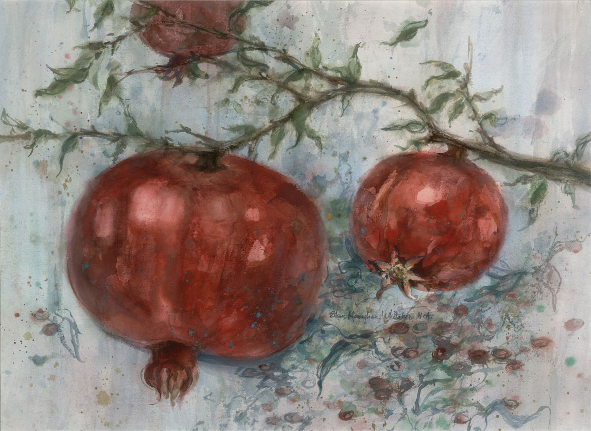 """Three Pomegranates"" 1986 © Eileen Monaghan Whitaker N.A.  22x30 Watercolor"