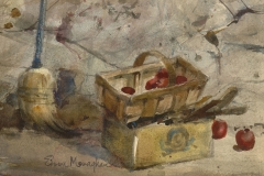 """""""Apples in The Cellar"""" 1960s © Eileen Monaghan Whitaker 12x16 inches Watercolor"""