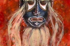 """""""Las-Pascolas-Mask"""" 1982 © Eileen Monaghan Whitaker N.A. 20x14 inches Watercolor"""