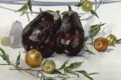 """""""Eggplant Study"""" 1977 © Eileen Monaghan Whitaker 16x22 inches Watercolor"""