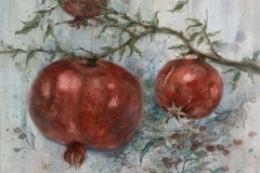 """Three Pomegranates"" 1986 © Eileen Monaghan Whitaker N.A.  22x30 Watercolor"