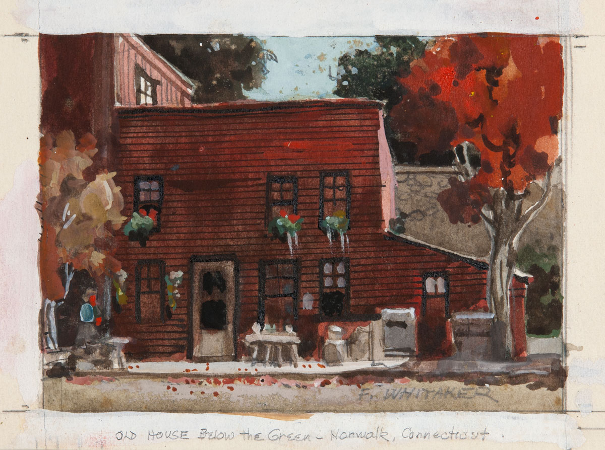 """Old Red House Below Green"" in Norwalk, Connecticut © Frederic Whitaker 4.25x6 inches Watercolor"