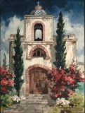 """""""Place of Worship"""" © Frederic Whitaker 30x22 inches (date unknown) Watercolor"""