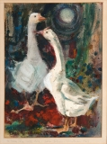 """""""Ducks and Drakes"""" © Eileen Monaghan Whitaker 14x18 inches Watercolor"""