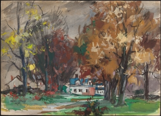 """New England Fall Landscape"" 1949 © Frederic Whitaker 16x22 inches Watercolor"