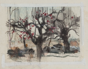 """Old Apple Trees"" in Bethel, Connecticut 1950s © Frederic Whitaker 4x5 inches Watercolor"