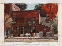 """""""Old Red House Below Green"""" in Norwalk, Connecticut © Frederic Whitaker 4.25x6 inches Watercolor"""