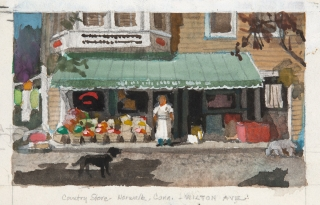 """Country Store"" Norwalk, Connecticut, Wilton Avenue 1950s or 60s © Frederic Whitaker 37.5x6.5 inches Watercolor"