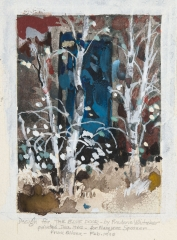 """Design for the Blue Door"" 1962 © Frederic Whitaker 6.35 x4.5 inches Watercolor"