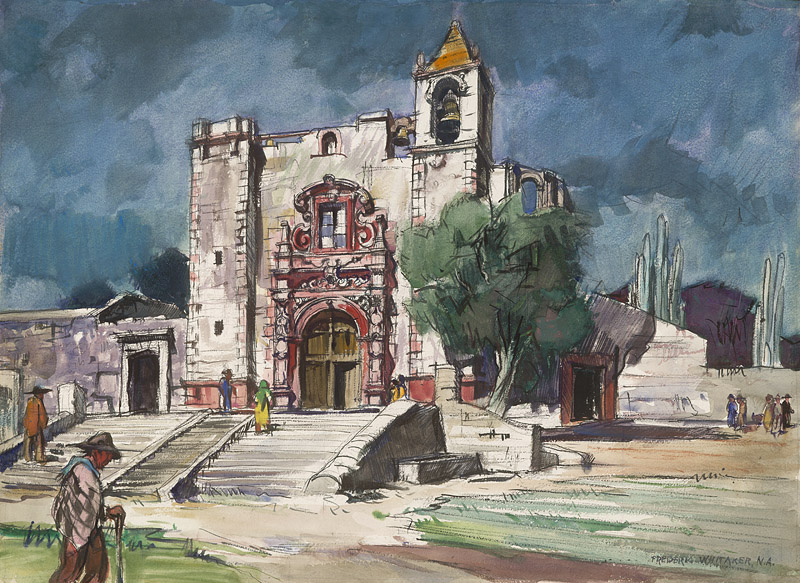"""Church of St. Anthony in the Field, San Miguel de Allende"" (date unknown) © Frederic Whitaker 22x30 inches Watercolor"