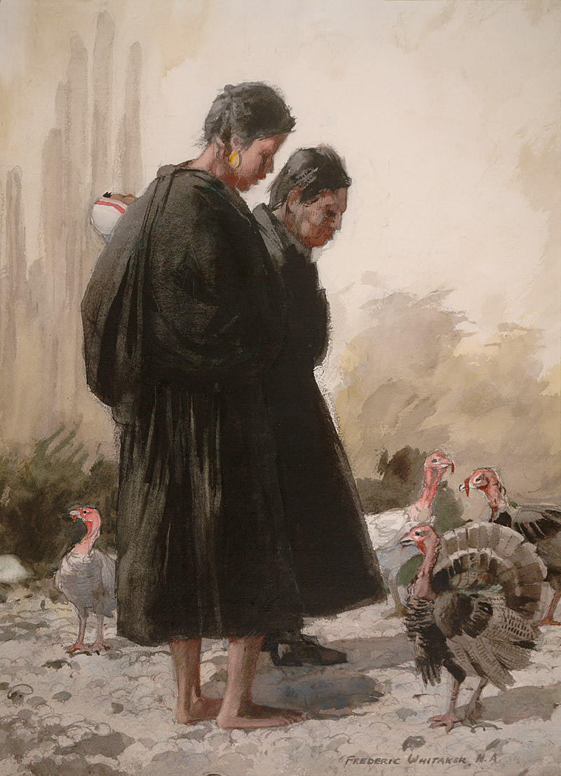 """Bird Watchers"" 1969 © Frederic Whitaker 21x29 inches Watercolor"