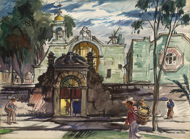 """Church of St. Francis, Oaxaca"" 1949 © Frederic Whitaker 22x30 inches Watercolor"